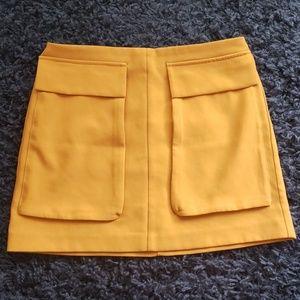 Retro mustard yellow women's skirt